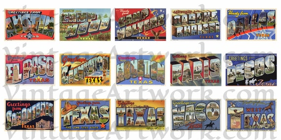 "Fifteen (15) Different ""Greetings From"" Texas Postcard Fronts, Digital Download, Curt Teich & Co. Publisher, 1936-1943"