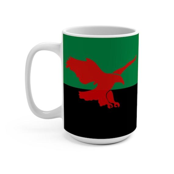 House Atreides v2, White 15oz Ceramic Mug, Inspired From Dune, Cosplay, Red Hawk, Banner, Coffee, Tea