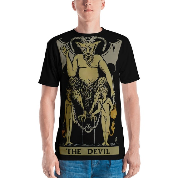 The Devil Tarot Card, Unisex T-shirt, Vintage, Antique Illustration