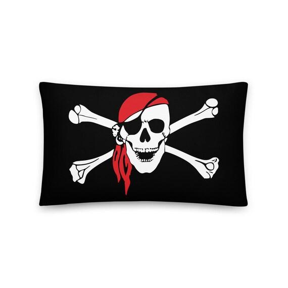 "Skull & Crossbones, 20""x12"" Throw Pillow, Pirate Flag, Jolly Roger"