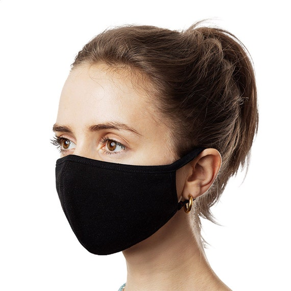 Small Face Masks, Black, 3-Pack, Machine Washable, Reusable, Comfortable, Breathable, Two Layers Of Fabric