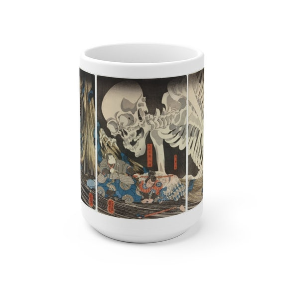 The Witch And The Skeleton Specter White 15oz Ceramic Mug, Vintage Japanese Woodcut, Coffee, Tea