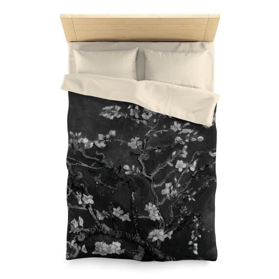 Almond Blossoms On Black, Microfiber Duvet Cover,  Vintage, Antique Painting, Vincent Van Gogh, 1890