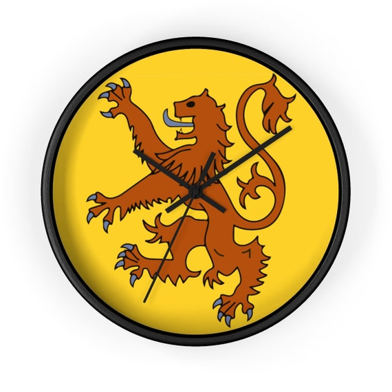 "Lion Rampant of Scotland, 10"" Black Wall Clock, Royal Banner of the Royal Arms of Scotland"