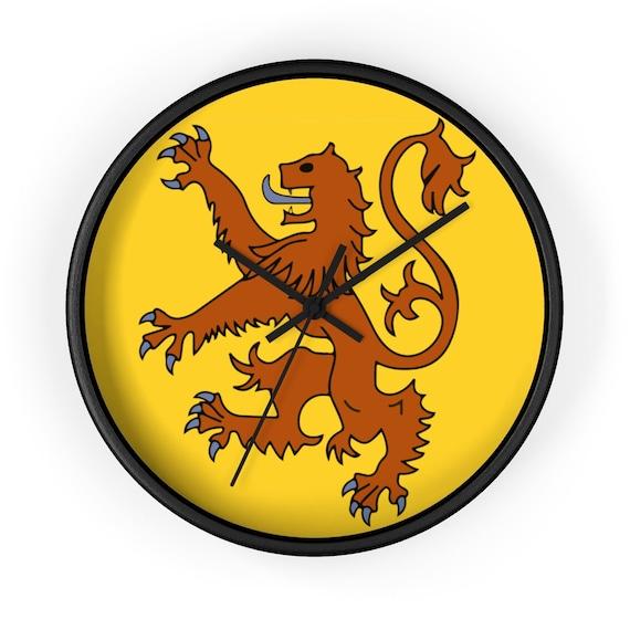 "Lion Rampant of Scotland, 10"" Black Wall Clock, Royal Banner of the Royal Arms of Scotland, Scottish Pride"