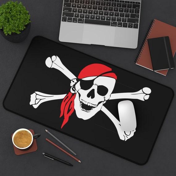 Skull & Crossbones Desk Mat, Pirate Flag, Jolly Roger