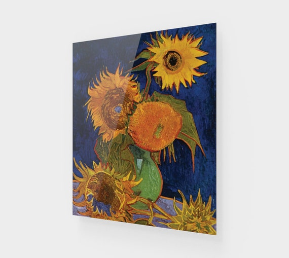 Six Sunflowers, Printed On Acrylic, Vintage Painting, Van Gogh 1888