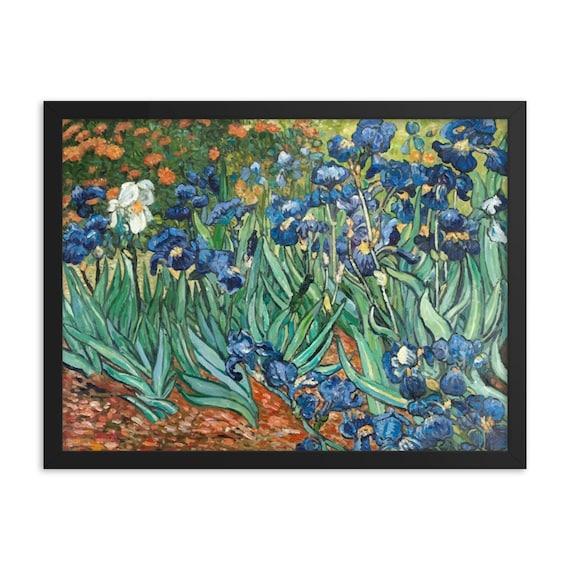 "Irises, 24"" x 18"" Framed Giclée Poster, Black Wood Frame, Acrylic Covering, Vincent Van Gogh, Room Decor"