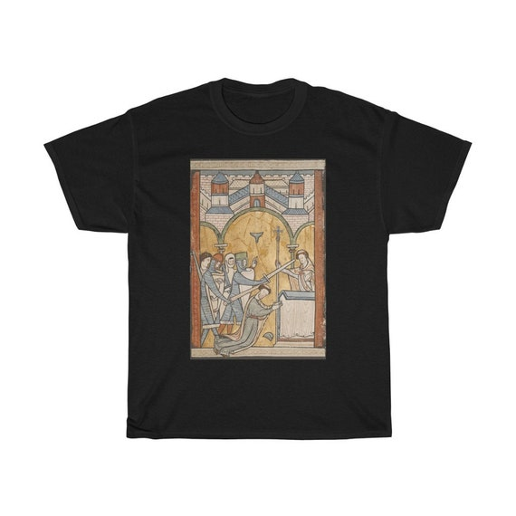 The Murder Of Thomas Becket, 100% Cotton T-shirt, From 12th Century Illuminated Manuscript, Saint Thomas of Canterbury, Christian Religion