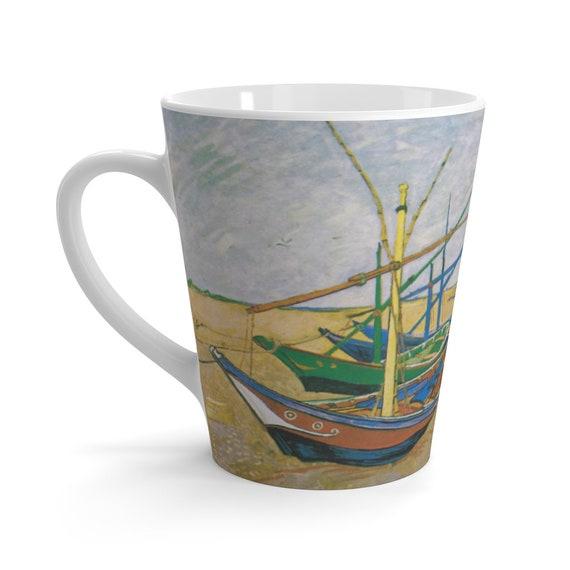 Fishing Boats On The Beach Latte Mug, Vincent Van Gogh, Coffee, Tea