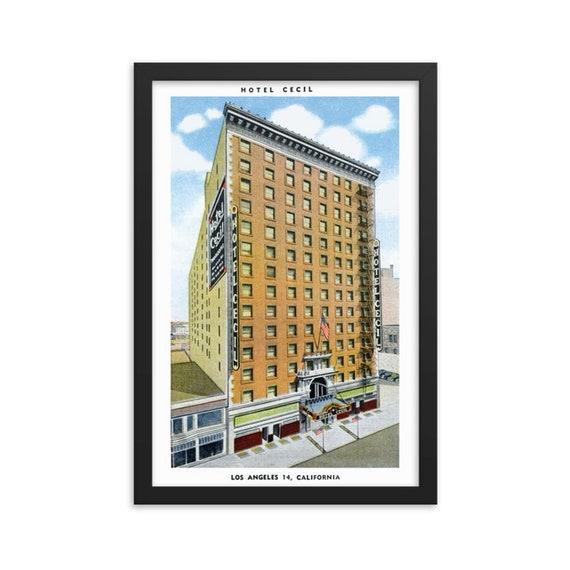 "Hotel Cecil Los Angeles, 12""x18"" Framed Giclée Poster, Black Wood Frame, Acrylic Covering, AKA Horror Hotel, 1930 Vintage Postcard"