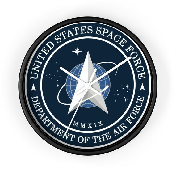 "Space Force Insignia Logo, 10"" Wall Clock, From Official USSF Seal, Military"