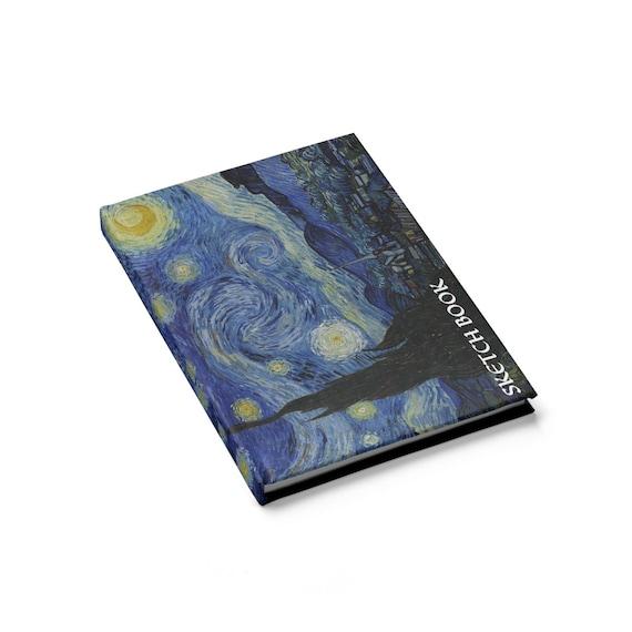 The Starry Night, Sketchbook, Hardcover Journal, Vintage Painting, Vincent Van Gogh, 1889