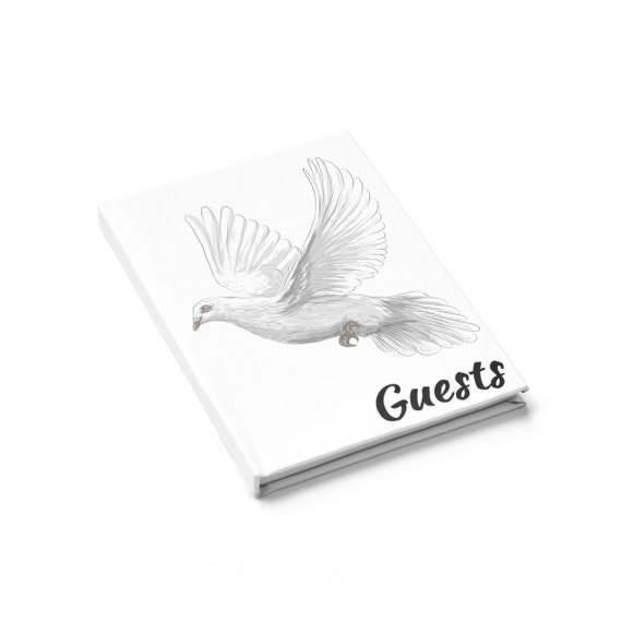 White Dove, Alternative, Free-form Guest Book, Hardcover, Opens Flat, Ruled Line