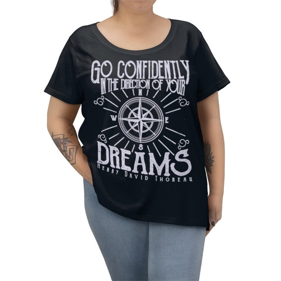 Go Confidently In The Direction Of Your Dreams v2, Women's Curvy Tee, Vintage Inspired Compass Rose