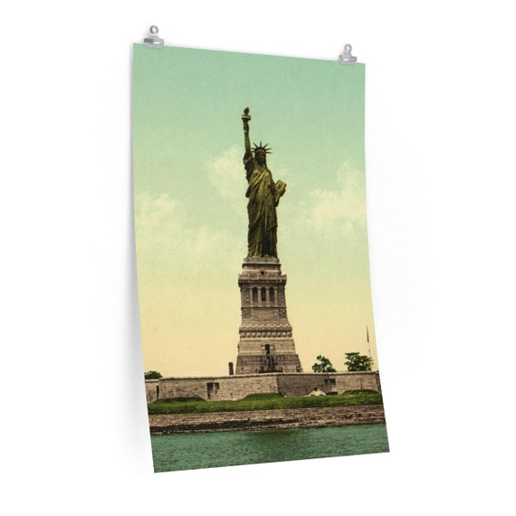 Fine Art Poster Matte With Vintage Photo Of The Statue Of Liberty From An Antique Postcard Circa 1890 To 1906