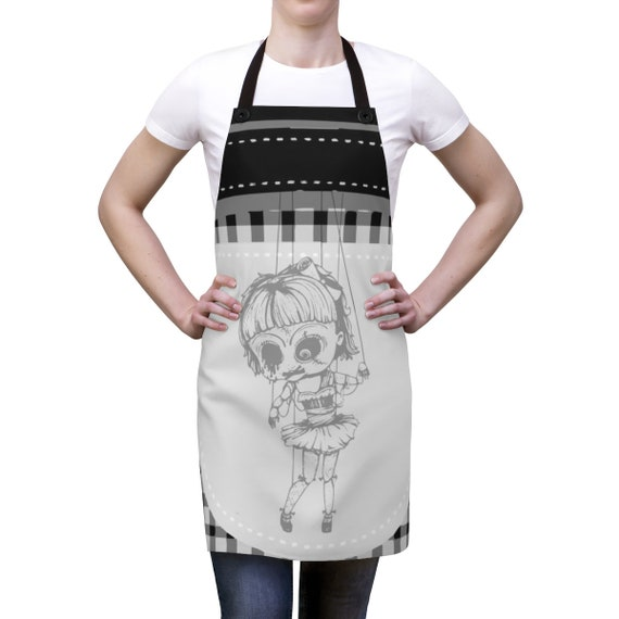 Creepy Doll v2, Cookout Apron, Vintage Inspired Burlesque Show Marionette Puppet