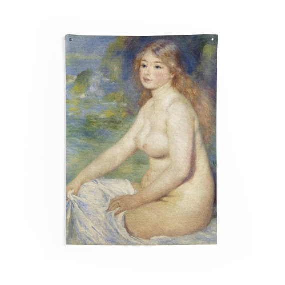 Blonde Bather, Indoor Wall Tapestries, Vintage, Antique Painting, Pierre-Auguste Renoir, 1881