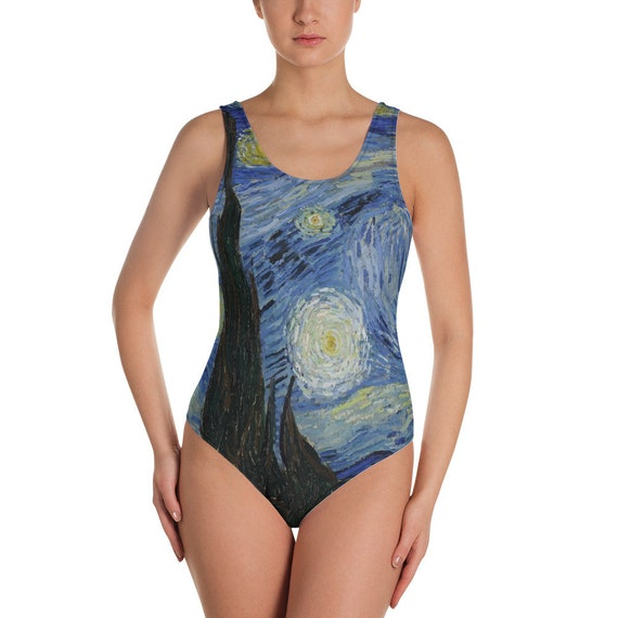 Starry Night, Women's One-Piece Swimsuit, Vintage Painting, Van Gogh 1889