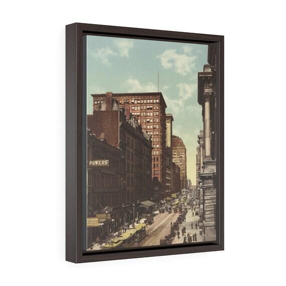 "Randolph Street in Chicago, 12""x16"" Framed Gallery Wrap Canvas, Antique Postcard Circa 1900, Illinois, Americana"
