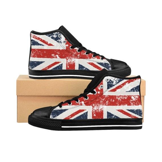 Shabby Britsh Flag, Women's High-top Sneakers