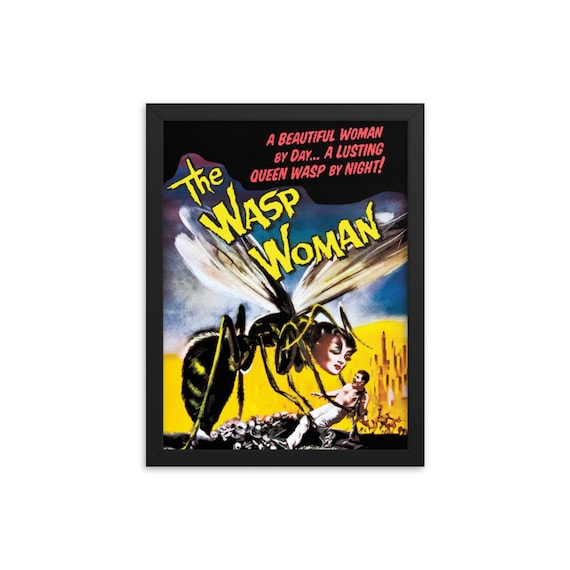 "The Wasp Woman, 12"" x16"" Framed Giclée Poster, Black Wood Frame, Acrylic Covering, 1959 Sci-Fi Horror Movie Poster, Wall Decor, Room Decor"