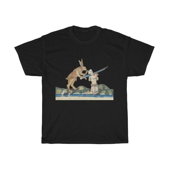 Medieval Killer Rabbit T-shirt, Dark Colors, From Medieval Manuscript, Marginalia