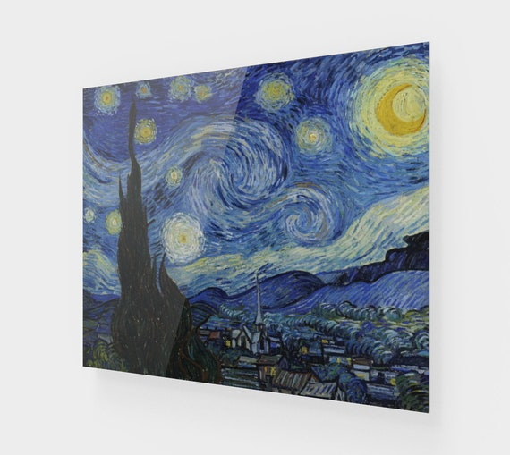 Starry Night, Printed On Acrylic, Vintage Painting, Van Gogh 1889