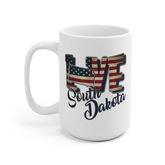 I Love South Dakota, Large White Ceramic Mug, Vintage Retro Flag, Patriotic, Patriotism, United States, Coffee, Tea