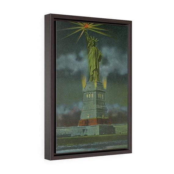 """The Statue Of Liberty At Night, 12""""x18"""" Framed Gallery Wrap Canvas,, Antique Postcard. Circa 1925"""
