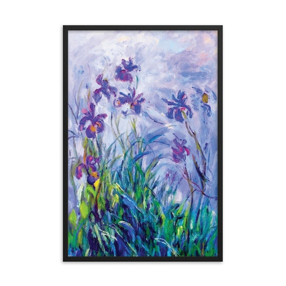 "Lilac Irises 24""x36"" Framed Giclée Poster, Black Wood Frame, Acrylic Covering, Claude Monet"