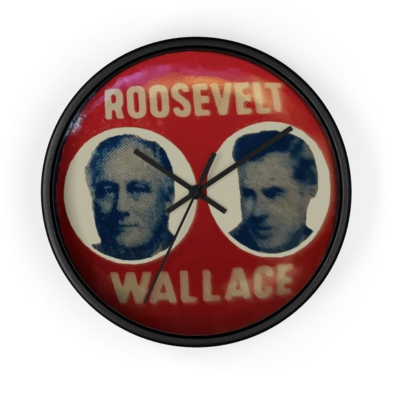 "Roosevelt & Wallace, 10"" Black Wall Clock, Vintage FDR Campaign Button"