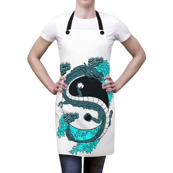 Yin-Yang Dragon Cookout Apron, Vintage Retro Style Design, Japanese & Chinese Folklore