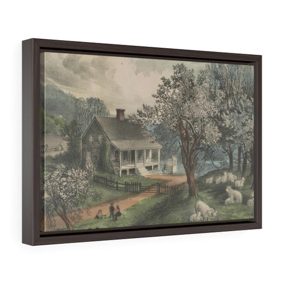Framed Wrapped Canvas Of Vintage Hand Colored Lithograph From Currier And Ives Called American Homestead Spring Circa 1869