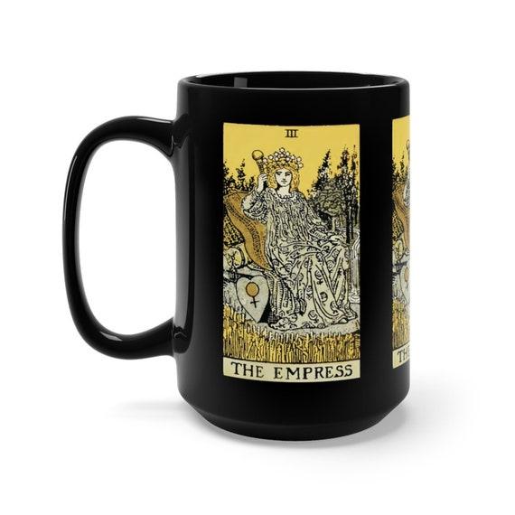 The Empress, Black 15oz Ceramic Mug, Tarot Card, Major Arcana, From Vintage Rider-Waite Deck, Coffee, Tea