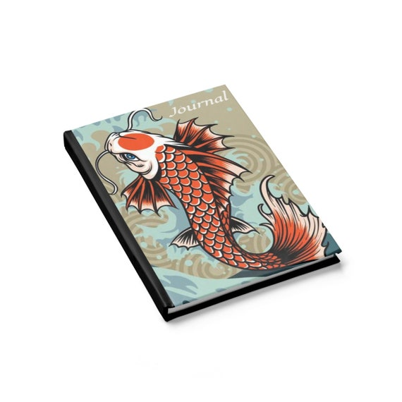 Koi, Hardcover Journal, Ruled Line, Vintage Inspired Design