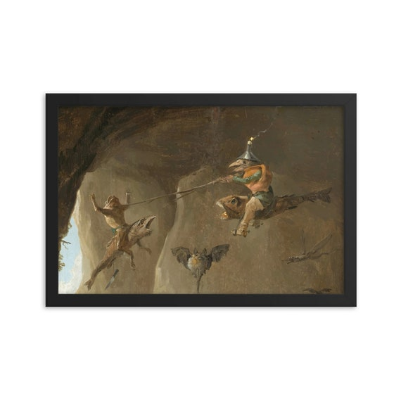 "Surreal Air Joust, 12""x18"" Framed Giclée Poster, Black Wood Frame, Acrylic Covering, In the tradition of Hieronymus Bosch"