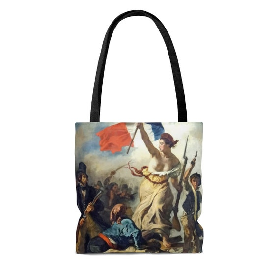Liberty Leading The People, Square Tote Bag, Vintage, Antique Painting, Delacroix, 1830, Activism