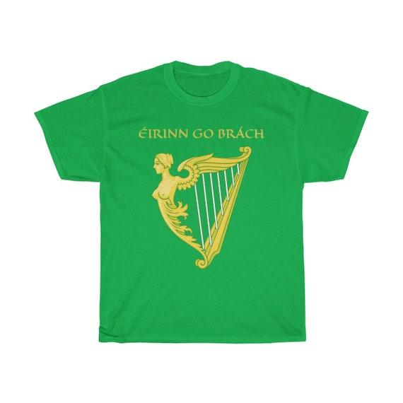 Eirinn Go Brach, Unisex Heavy Cotton T-shirt, 7 Colors, Ireland, Harp Flag, Coat Of Arms, Irish Pride