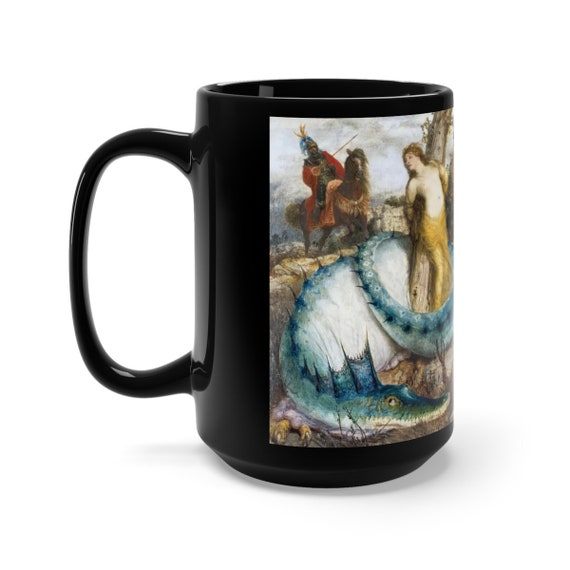 Blue Dragon, Black 15oz Ceramic Mug, Vintage Painting, Arnold Bocklin, 1873