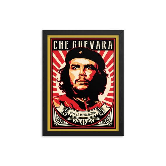 Che Guevara Viva La Revolucion Framed Giclée Poster, Black Wood Frame, Acrylic Covering, Revolution, Leftist, Marxist, Socialist, Activism