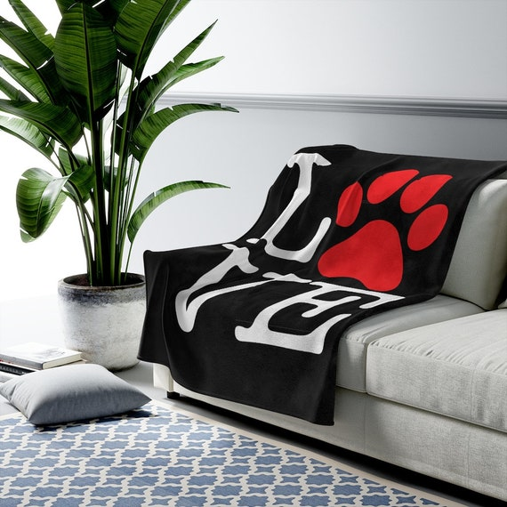 Love Paw Print Velveteen Blanket, I Love Dogs, I Heart Dogs, Dog Lover Gift