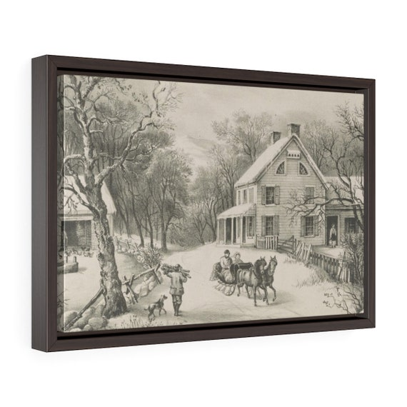 Framed Wrapped Canvas Of Vintage Lithograph From Currier And Ives Called American Homestead Winter Circa 1868