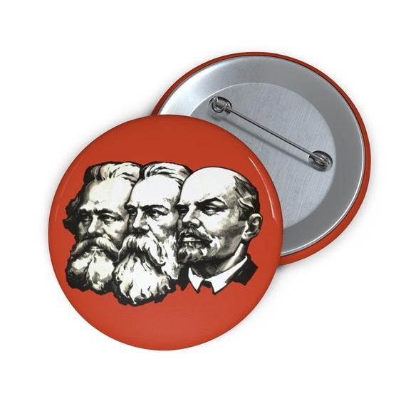 "Marx Engels Lenin 2"" Pin Button, Socialism, Communism, Marxism, Activism"