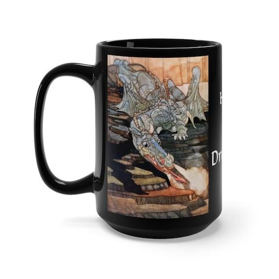 Here Be Dragons v2, Black 15oz Ceramic Mug, Vintage Art Nouveau Illustration