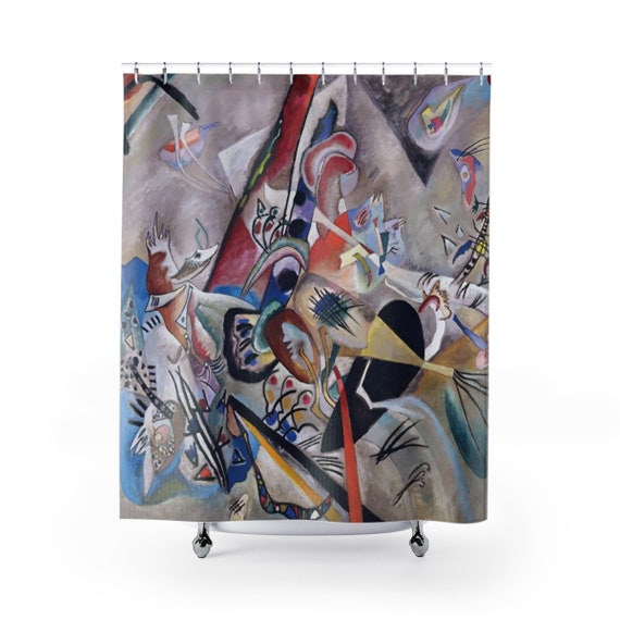 In Grey, Shower Curtain, Vintage Abstract Painting, Wassily Kandinsky, 1919