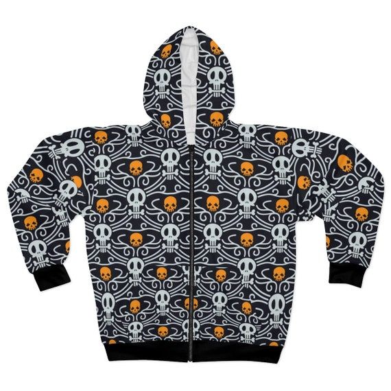 Day Of The Dead Hoodie, Vintage Inspired Traditional Pattern For Día De Muertos