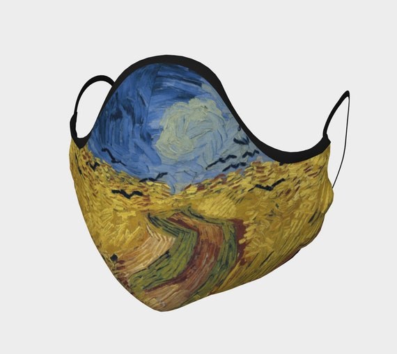Wheatfield With Crows, Face Mask, 7 Sizes, Filter Pocket, Filters, 100% Cotton, Free Worldwide Shipping, Vincent Van Gogh