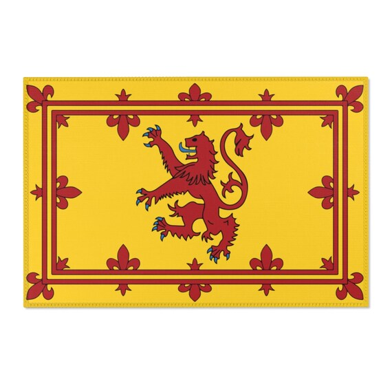 Lion Rampant of Scotland, 2'x3' Door Mat & 4'x6' Area Rug Sizes, Royal Banner of the Royal Arms of Scotland, Scottish Pride