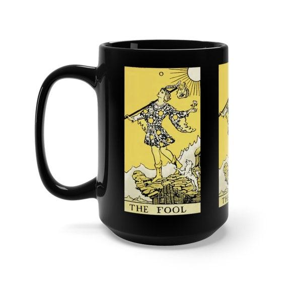 The Fool, Black 15oz Ceramic Mug, Tarot Card, Major Arcana, From Vintage Rider-Waite Deck, Coffee, Tea